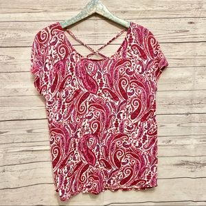 Lucky Brand | Pink Paisley Strappy Back Tee